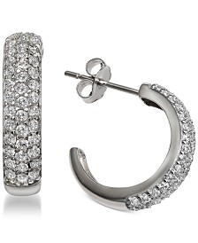 Giani Bernini Cubic Zirconia Pavé Hoop Earrings in Sterling Silver, Created for Macy's