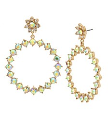 "Betsey Johnson Flower & Stone Gypsy Extra Large 3"" Hoop Earrings"