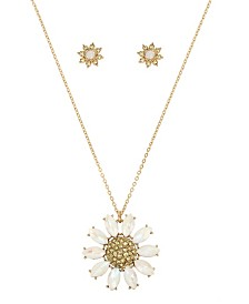 Betsey Johnson Pave Daisy Flower Pendant Necklace & Stud Earring Set