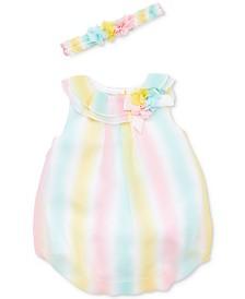 Little Me Baby Girls 2-Pc. Flower Crown & Bubble Romper Set