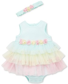 Little Me Baby Girls 2-Pc. Headband & Popover Bodysuit Set