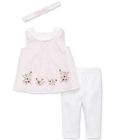 Little Me Baby Girls 3-Pc. Garden Border Cotton Tunic, Leggings & Headband Set