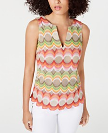 Trina Turk Forbes Printed Scalloped-Hem Top