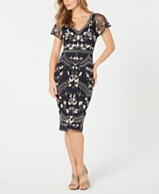 Adrianna Papell Embellished Flutter-Sleeve Sheath Dress