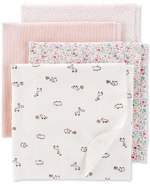 Carter's Baby Girls 4-Pk. Printed Cotton Flannel Swaddle Blankets