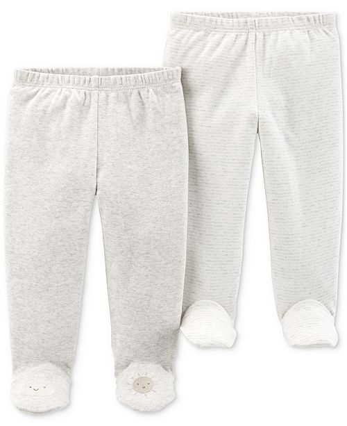 Carter's Baby Boys or Girls 2-Pk. Cotton Footed Pants