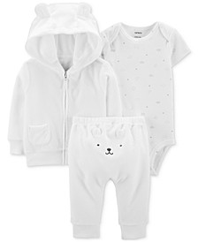 Baby Boys & Girls 3-Pc. Hoodie, Bodysuit & Pants Set