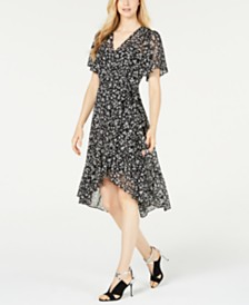 Calvin Klein Petite Ditsy Floral High-Low Chiffon Dress
