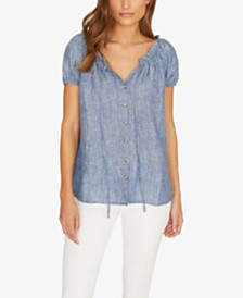 Sanctuary Ayva Linen Ruffled Top