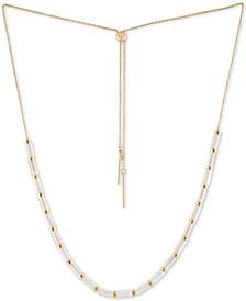 "Gold-Tone Crystal Bead 13"" Slider Necklace"