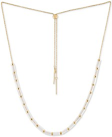 "RACHEL Rachel Roy Gold-Tone Crystal Bead 13"" Slider Necklace"