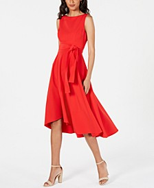 Belted High-Low A-Line Dress