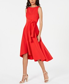 Vince Camuto Belted High-Low A-Line Dress