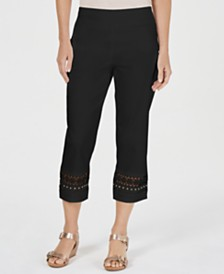 JM Collection Crochet-Trim Studded Capris, Created for Macy's