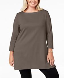 Karen Scott Plus Size Cotton Tunic Top, Created for Macy's
