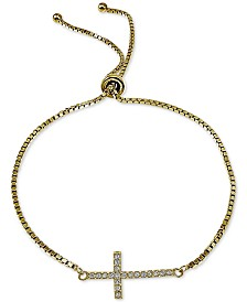 Giani Bernini Cubic Zirconia East-West Cross Bolo Bracelet, Created for Macy's