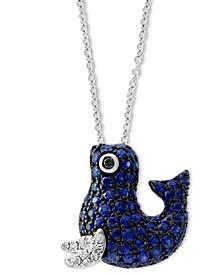 "EFFY® Sapphire (3/4 ct. t.w.) & Diamond Accent Seal 18"" Pendant Necklace in 14k White Gold"