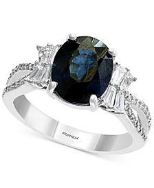 EFFY® Sapphire (2-7/8 ct. t.w.) & Diamond (1/2 ct. t.w.) Statement Ring in 14k White Gold