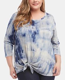 Karen Kane Plus Size Tie-Dyed Tie-Front Top
