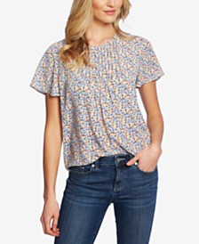 CeCe Pintucked Floral-Print Top