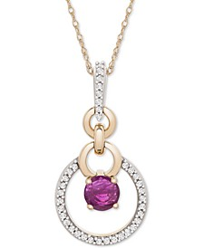 """Certified Ruby (1/3 ct. t.w.) and Diamond (1/10 ct. t.w.) 18"""" Pendant Necklace in 14k Gold"""