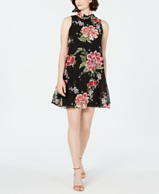 Robbie Bee Petite Embroidered Floral Overlay Dress