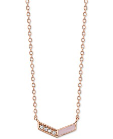 "Crystal & Enamel Chevron Pendant Necklace in Rose Gold-Plated Sterling Silver, 16"" + 2"" extender"