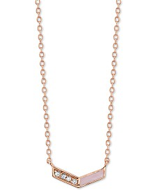 "Unwritten Crystal & Enamel Chevron Pendant Necklace in Rose Gold-Plated Sterling Silver, 16"" + 2"" extender"