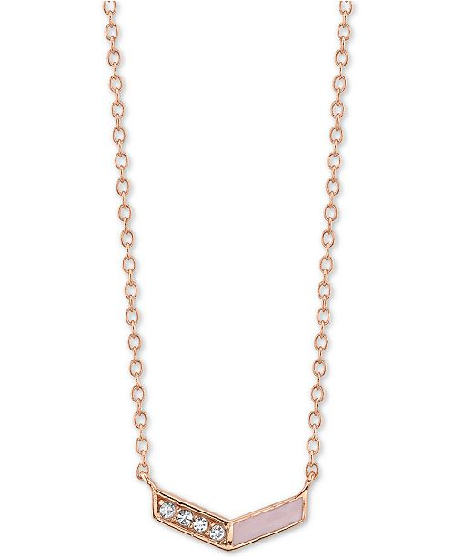 """Unwritten Crystal & Enamel Chevron Pendant Necklace in Rose Gold-Plated Sterling Silver, 16"""" + 2"""" extender"""