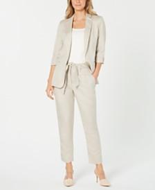 Calvin Klein Roll-Tab Jacket & Tie-Waist Pants
