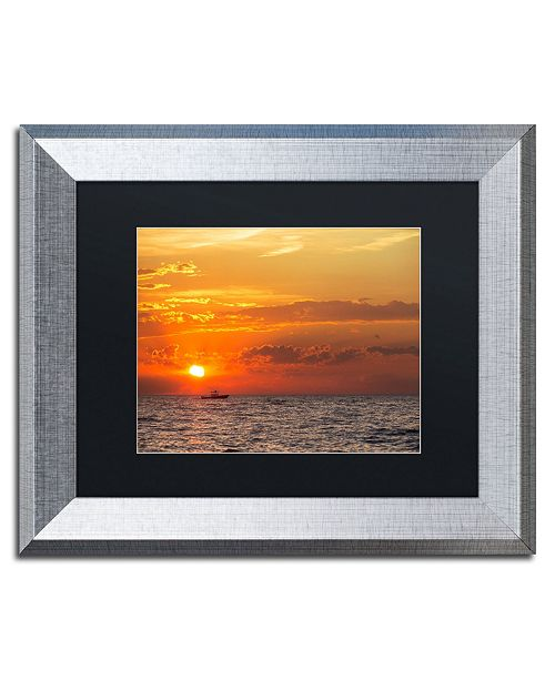 "Trademark Global Jason Shaffer 'Fishing Boat Sunset' Matted Framed Art - 14"" x 11"""
