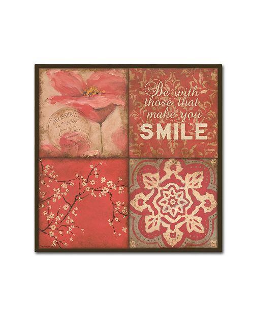 "Trademark Global Stephanie Marrott 'Smile Floral' Canvas Art - 14"" x 14"""