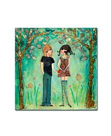 """Wyanne 'Big Eyed Girl First Love' Canvas Art - 14"""" x 14"""""""