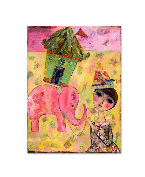 "Trademark Global Wyanne 'Big Eyed Girl Pink Elephant Circus' Canvas Art - 14"" x 19"""