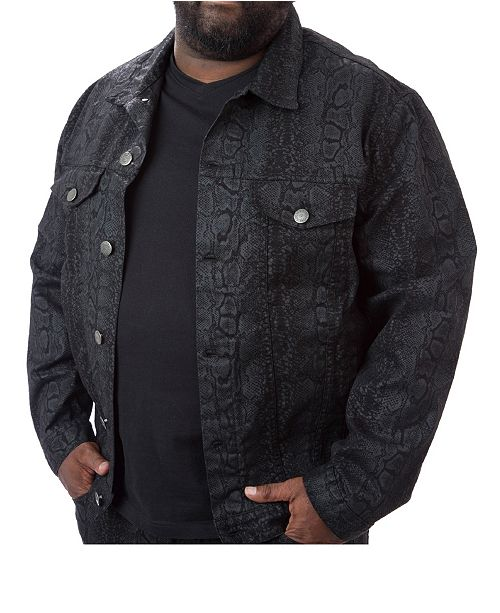 Mvp Collections By Mo Vaughn Productions Men's Big & Tall MVP Collections Python Print Denim Jacket