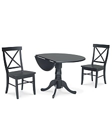 """International Concepts 42"""" Dual Drop Leaf Table With 2 X-Back Chairs"""