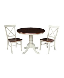 "36"" Round Top Pedestal Table - With 2 Chairs"