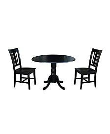 """International Concepts 42"""" Dual Drop Leaf Table With 2 San Remo Chairs"""