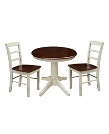 "30"" Round Top Pedestal Table- With 2 Madrid Chairs"