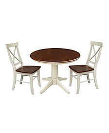 "36"" Round Top Pedestal Table - With 2 X-Back Chairs"