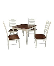 International Concepts 36X36 Dining Table With 4 Ladderback Chairs