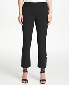 DKNY Petite Button-Detail Skinny Ankle Pants