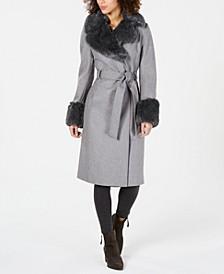 Belted Faux-Fur-Trim Coat