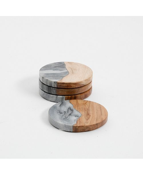 Laurie Gates Gray Marble & Wood Coaster Set