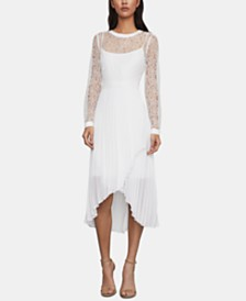 BCBGMAXAZRIA Asymmetrical-Hem Lace Dress