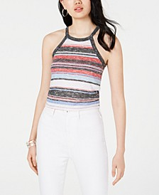 Juniors' High-Neck Ribbed Tank Top