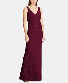 Lace-Panel Jersey Gown