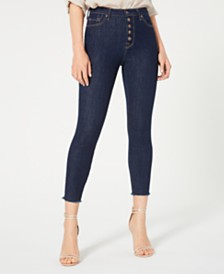 7 For All Mankind Aubrey Cropped Button-Fly Skinny Jeans