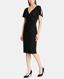 Lauren Ralph Lauren Rhinestone-Pin Ruffled Jersey Dress