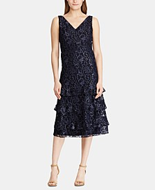 Tiered-Ruffle Lace Dress